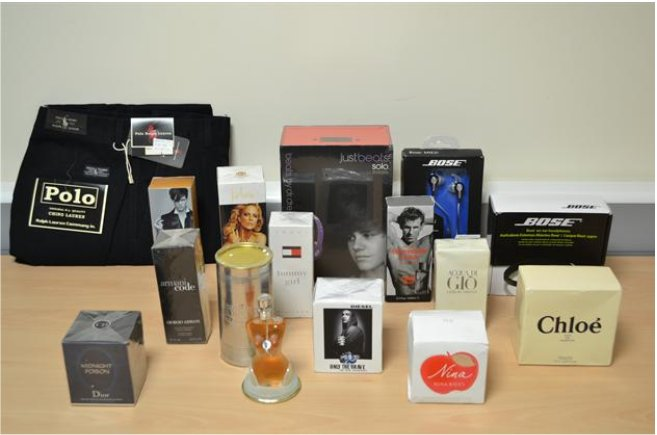 A selection of the counterfeit goods being sold online
